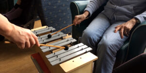 Two people playing the glockenspiel